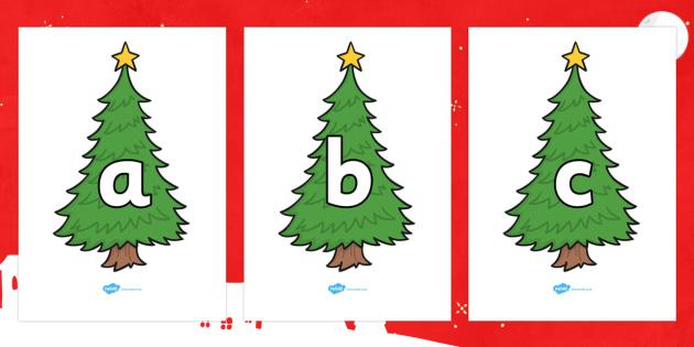 A-Z Alphabet on Christmas Trees (Plain) - Christmas, xmas, tree, advent, nativity, santa, father christmas, Jesus, tree, stocking, present, activity, cracker, angel, snowman, advent , bauble, A-Z,  Alphabet frieze, Display letters, Letter posters, A-