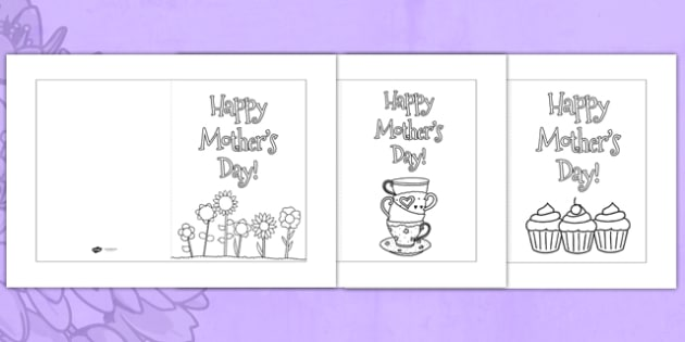 Mother's Day Card Templates Colouring - Mother's day, mum, colour