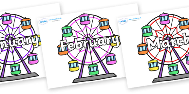 Months of the Year on Ferris Wheels - Months of the Year, Months poster, Months display, display, poster, frieze, Months, month, January, February, March, April, May, June, July, August, September