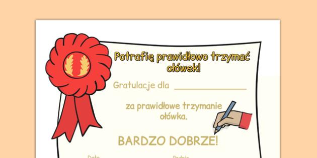 Certyfikaty Trzymanie ołówka po polsku - nauka pisania, motywacja