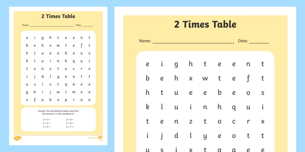 Multiplication 2 Times Tables Wordsearch Worksheet – 2s Multiplication Worksheet