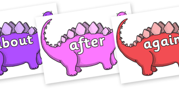 KS1 Keywords on Stegosaurus - KS1, CLL, Communication language and literacy, Display, Key words, high frequency words, foundation stage literacy, DfES Letters and Sounds, Letters and Sounds, spelling