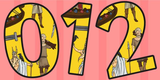 Viking Themed A4 Display Numbers - vikings, numbers, display