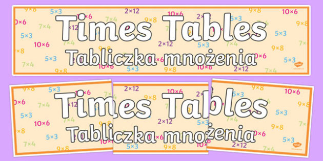 Times Tables Display Banner Polish Translation - polish, times tables, display banner, display, banner