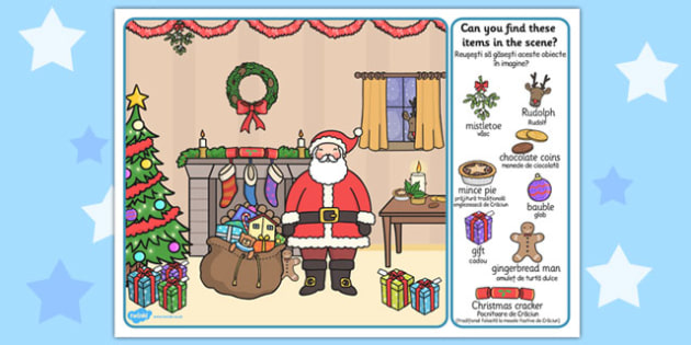 Christmas Picture Finding Activity Romanian Translation - fun and games, festive, filler, matching, activity, game, colour,