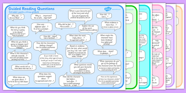 Guided Reading Question Mats Romanian Translation - bilingual, comprehension