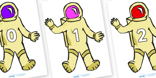 Numbers 0-50 on Astronauts - 0-50, foundation stage numeracy, Number recognition, Number flashcards, counting, number frieze, Display numbers, number posters