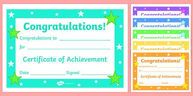 Editable Reward Certificates for Primary Classes - Certificates of Achievement