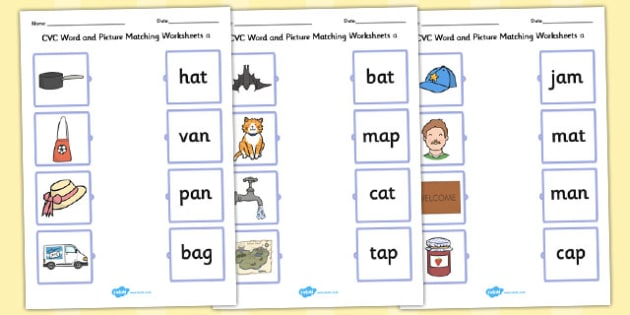 Cvc Word And Picture Matching Worksheets A Cvc Matching A