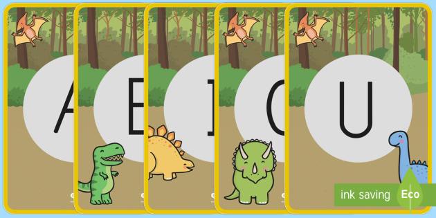 Los dinosaurios tarjetas de fonemas - vocales - Los dinosaurios, proyecto, transcurricular, seres vivos, estegosaurio, pterodáctilo, braquiosauro,  - Los dinosaurios, proyecto, transcurricular, seres vivos, estegosaurio, pterodáctilo, braquiosauro,