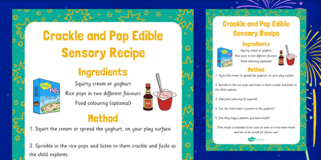 Crackle and Pop Edible Sensory Recipe - crackle, pop, edible, sensory, recipe