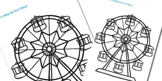 Large Seaside Themed Ferris Wheel Colouring Template - seaside, seaside colouring sheets, large seaside colouring sheets, ferris wheel colouring template