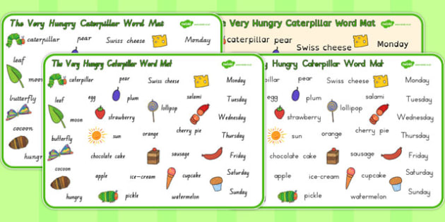 Word Mat to Support Teaching on The Very Hungry Caterpillar - australia, hungry, caterpillar