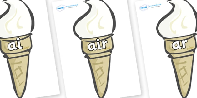 Phase 3 Phonemes on Ice Creams - Phonemes, phoneme, Phase 3, Phase three, Foundation, Literacy, Letters and Sounds, DfES, display