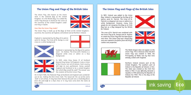 The Union Flag and Flags of the British Isles Information Sheet - cfe, union flag, british isles, information sheet