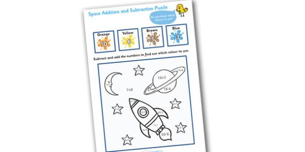 Space Addition and Subtraction Puzzle (0-20) - education, home school, child development, children activities, free, kids, math games, worksheets, number work