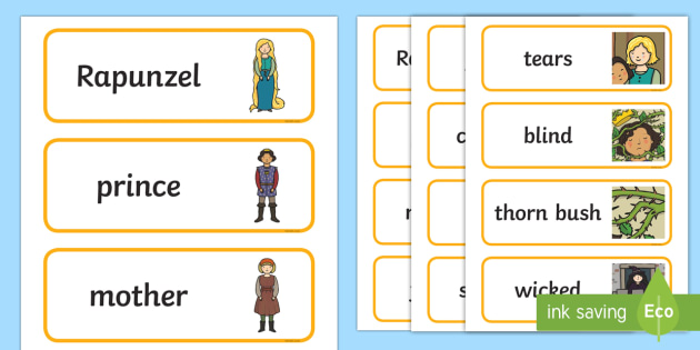 Rapunzel Word Cards - Rapunzel, prince, witch, tower, long hair, fairytale, traditional tale, Brothers Grimm, tower, woods, forest, prince, let down your hair, story, story sequencing, Word cards, Word Card, flashcard, flashcards,