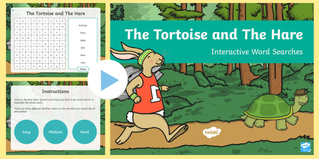 The Tortoise and The Hare Interactive Wordsearch - word games