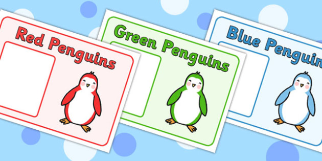 Editable Penguin Themed Group Signs - signs, labels, group sign