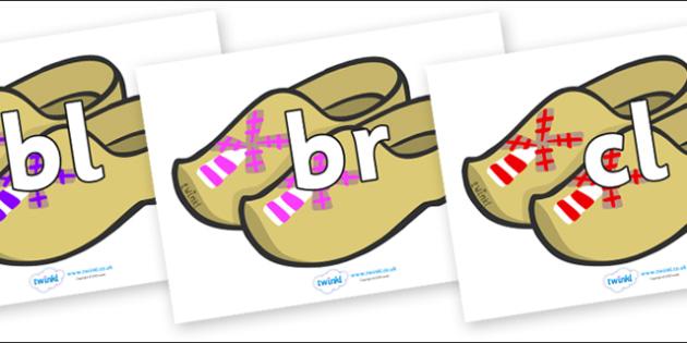 Initial Letter Blends on Wooden Shoes - Initial Letters, initial letter, letter blend, letter blends, consonant, consonants, digraph, trigraph, literacy, alphabet, letters, foundation stage literacy