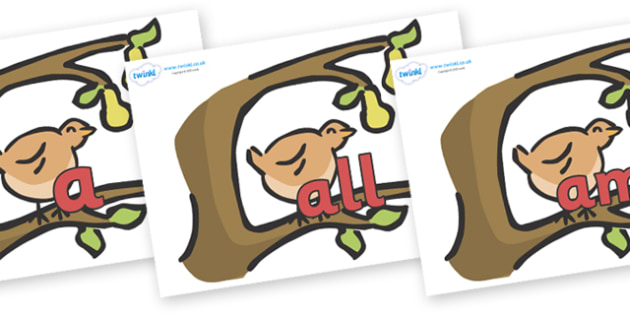 Foundation Stage 2 Keywords on Partridge in a Pear Tree - FS2, CLL, keywords, Communication language and literacy,  Display, Key words, high frequency words, foundation stage literacy, DfES Letters and Sounds, Letters and Sounds, spelling
