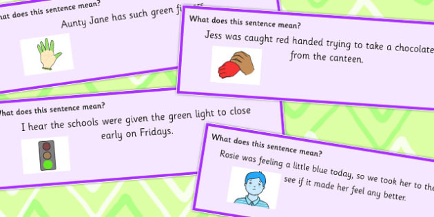 Colour Idioms Sentence Cards - sentence, colours, meaning, colour