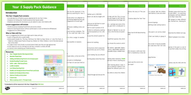 KS2 Year 5 Supply Pack Guidance - ks2, year 5, supply, pack, guidance