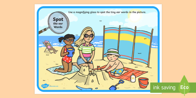 Phase 3 ear Words Beach Scene Magnifying Glass Activity Sheet - phonics, letters and sounds, phase 3, ear sound, magnifier, magnifying glass, find, activity, group,