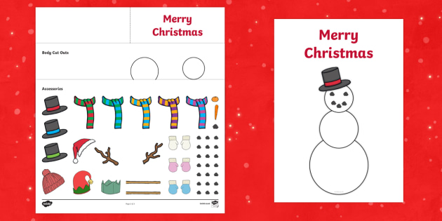 Design Your Own Snowman Christmas Cards - Christmas, xmas, Happy Christmas, tree, snowman, advent, nativity,  cards, card, flashcards, make your own christmas card, santa, father christmas, Jesus, tree, stocking, present, activity, cracker, angel, sn