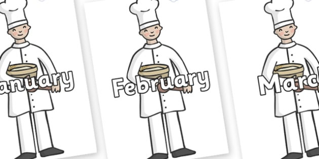 Months of the Year on Bakers - Months of the Year, Months poster, Months display, display, poster, frieze, Months, month, January, February, March, April, May, June, July, August, September
