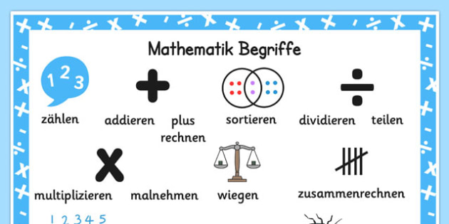 Mathematik Begriffe Numeracy Instructions Word Mat German - german, numeracy, word mat, instructions