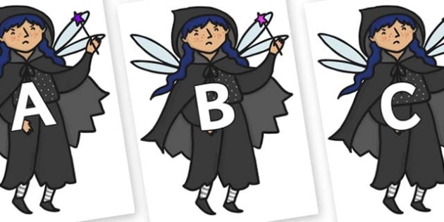 A-Z Alphabet on Evil Fairy - A-Z, A4, display, Alphabet frieze, Display letters, Letter posters, A-Z letters, Alphabet flashcards