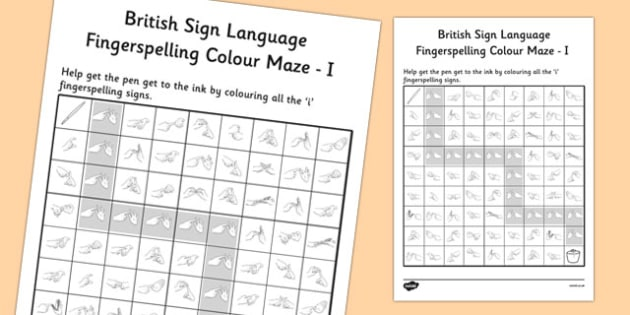 British Sign Language Fingerspelling Colour Maze I - colour, maze