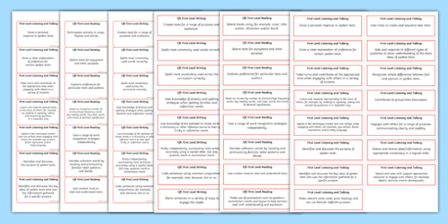 CfE First Level Literacy and English Benchmark Assessment Sticker Pack