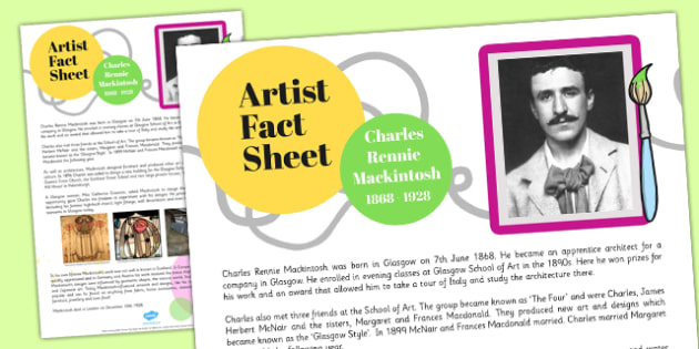 Charles Rennie Mackintosh Fact Sheet - cfe, charles rennie mackintosh, fact sheet