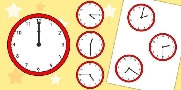 Half Past, Quarter Past and O'Clock Analogue Clocks