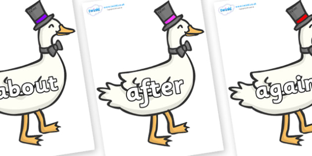 KS1 Keywords on Goose - KS1, CLL, Communication language and literacy, Display, Key words, high frequency words, foundation stage literacy, DfES Letters and Sounds, Letters and Sounds, spelling