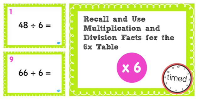 Multiplication Division Facts for 6 Times Table PowerPoint Test