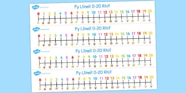 Welsh Number Line 0-20 - welsh, number, line, 0-20, numbers