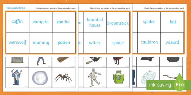 Halloween Bingo - Halloween, bingo, lotto, activity, game, pumpkin , witch, bat, scary, black cat, mummy, grave stone, cauldron, broomstick, haunted house, potion, Hallowe'en