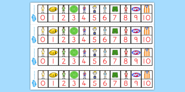 AFL Australian Football League Football Number Track 1-10 - afl