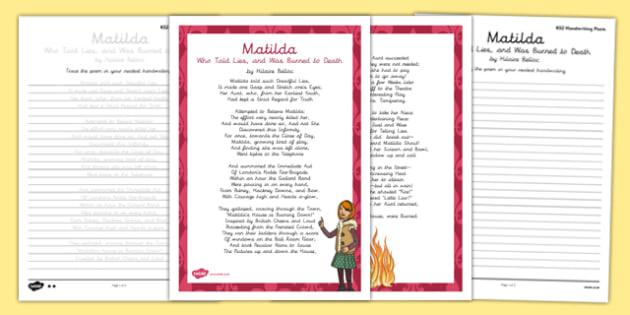 Matilda Cautionary Tale Handwriting Poem Pack - matilda cautionary tale, handwriting, poetry, poem pack