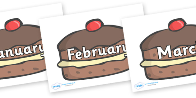 Months of the Year on Chocolate Buns - Months of the Year, Months poster, Months display, display, poster, frieze, Months, month, January, February, March, April, May, June, July, August, September