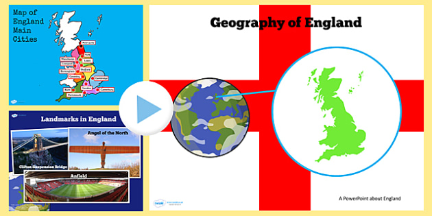 Geography of England KS2 PowerPoint - geography, english, activity