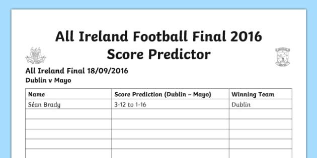 GAA Football Final Score Predictor A4 Display Poster-Irish