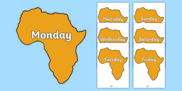 Days of the Week on Africa - Days of the Week, Weeks poster, week, display, poster, frieze, Days, Day, Monday, Tuesday, Wednesday, Thursday, Friday, Saturday, Sunday