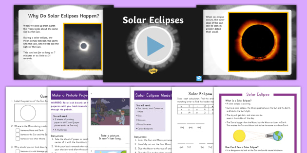 K-2 Solar Eclipse Activity Pack - solar eclipse, solar eclipse 2017, earth science, earth moon and sun, total partial and annular ecli