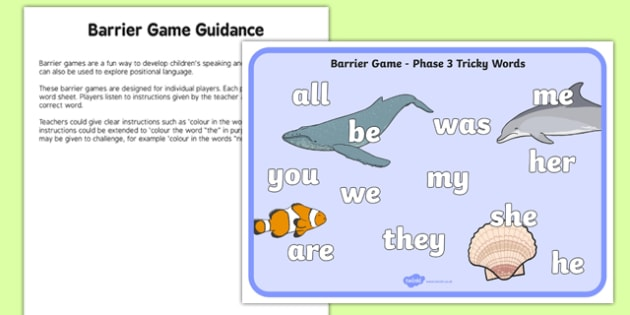 Phase 3 Tricky Words Barrier Game Activity Sheet, worksheet