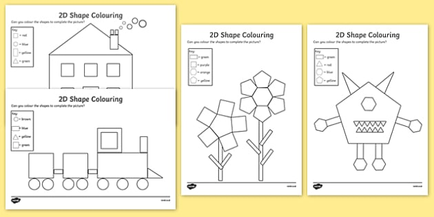 Colour by 2D Shapes - colour, 2d shapes, 2d, shapes, colouring, activity