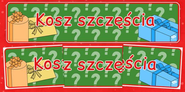 Świąteczny banner Szczęśliwy koszyk po polsku - kiermasz, loteria